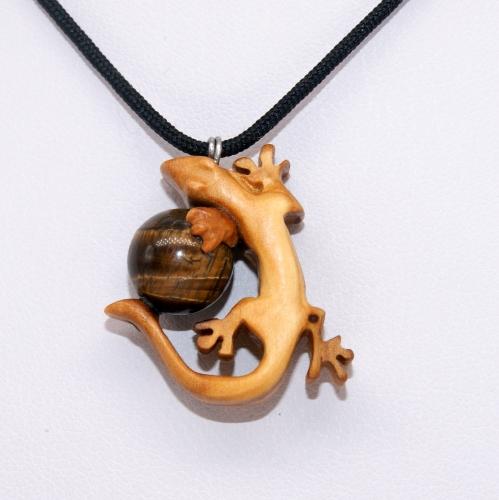 37- Collier Gecko en Olivier et pierre d'œil de Tigre