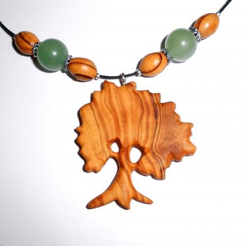 14- Collier arbre en Olivier et perles Aventurine
