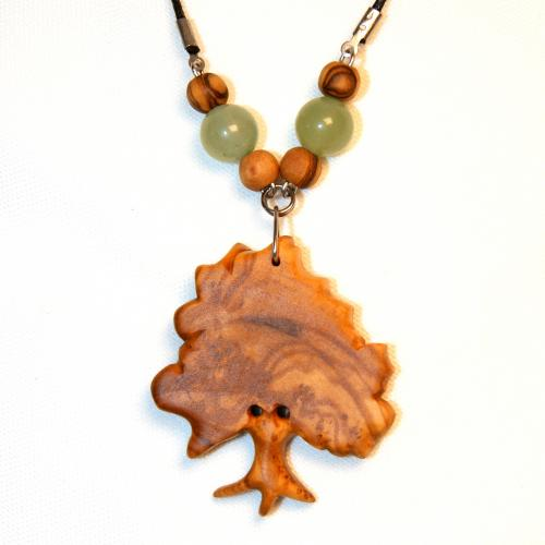 16- Collier arbre en Olivier et perles Aventurine