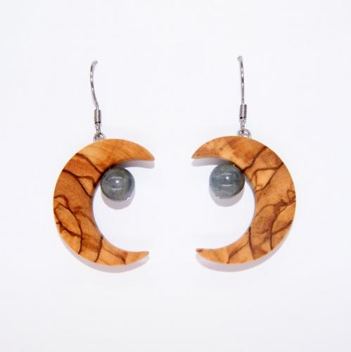 36- Boucles d'oreilles Lune en Olivier et perles de Labradorite