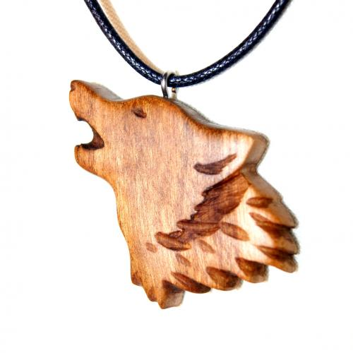 4- Collier tête de loup en Cerisier